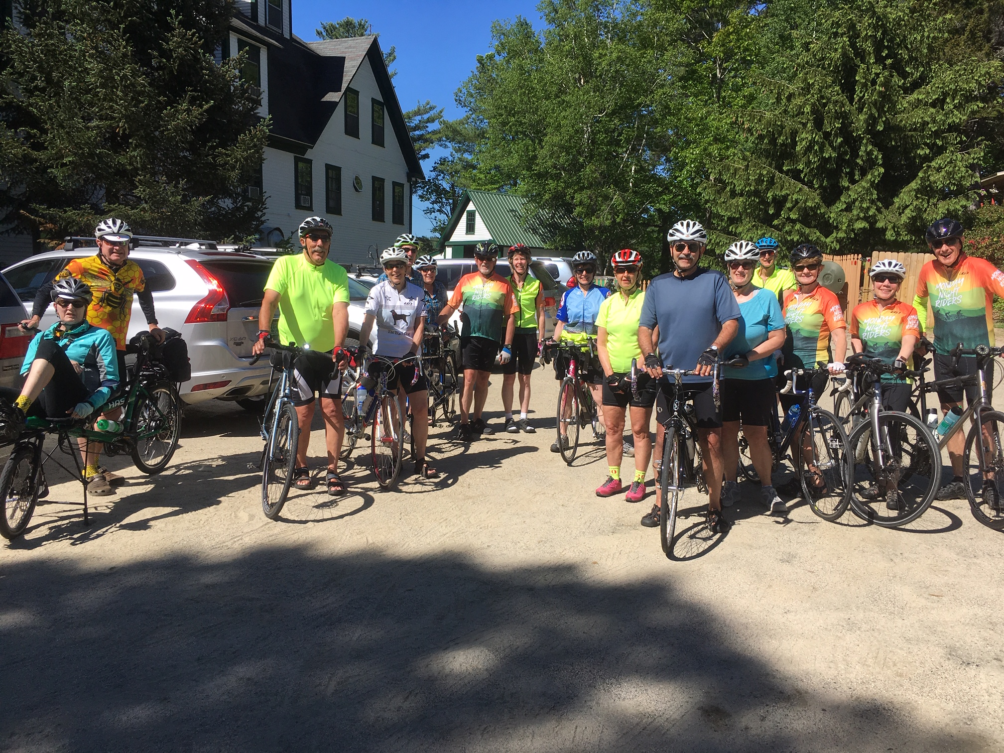 Group of Bicyclists in front of the Follansbee Inn