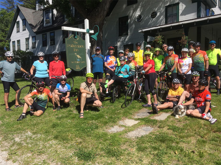 Group of Bicyclists in front of the Follansbee Inn | Follansbee Inn, North Sutton, NH