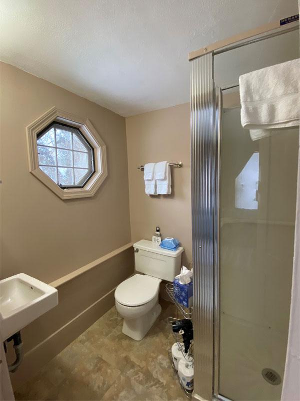 Alexander Bathroom | Follansbee Inn, Lake Sunapee, NH
