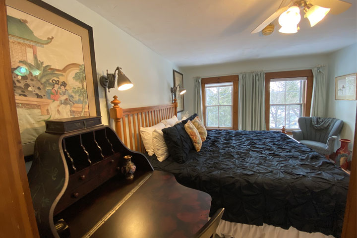 Jennifer King Bed | Follansbee Inn, Lake Sunapee, NH
