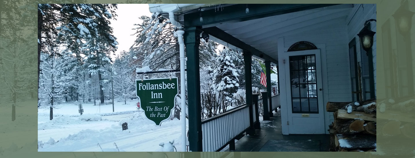 Winter Porch slider | Follansbee Inn, Kazer Lake, NH